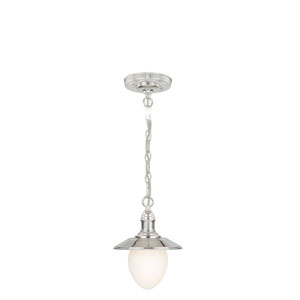 Marina Bay Polished Nickel One-Light Mini Pendant with Frosted Opal Glass