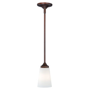 Lorimer Venetian Bronze One-Light Mini Pendant with Frosted Opal Glass