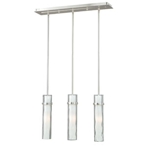Vilo Satin Nickel Three-Light Linear Pendant with Outer Water Glass