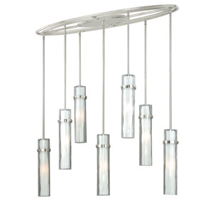 Vilo Satin Nickel Seven-Light Linear Pendant with Outer Water Glass
