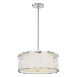 Vilo Satin Nickel Three-Light Drum Pendant with Outer Water Glass
