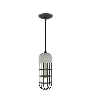 Black Iron 5-Inch Wide One-Light Concrete Mini Pendant