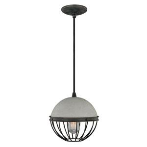 Black Iron 10-Inch Wide One-Light Concrete Mini Pendant