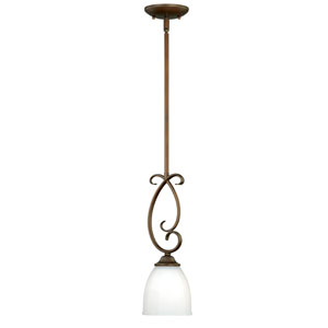Claret Venetian Bronze One-Light Mini Pendant with Etched White Glass