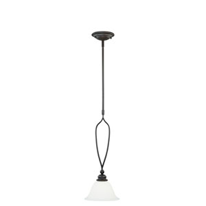 Cordoba New Bronze One-Light Mini Pendant with Etched White Glass