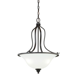 Darby New Bronze Three-Light Bowl Pendant with Etched White Glass