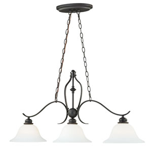 Darby New Bronze Three-Light Island Pendant with Etched White Glass