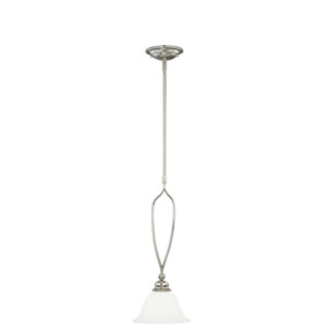 Cordoba Satin Nickel 8-Inch Wide One-Light Mini Pendant with Etched White Glass