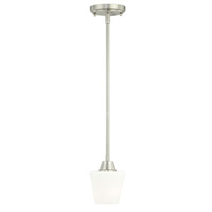 Calais Satin Nickel 5-Inch Wide One-Light Mini Pendant with Frosted Opal Glass