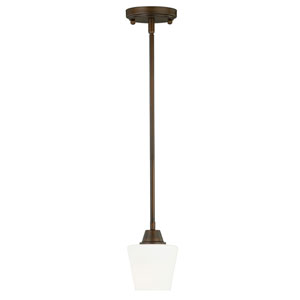 Calais Venetian Bronze 5-Inch Wide One-Light Mini Pendant with Frosted Opal Glass