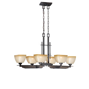 Descartes II Architectural Bronze 38.5-Inch Six-Light Chandelier