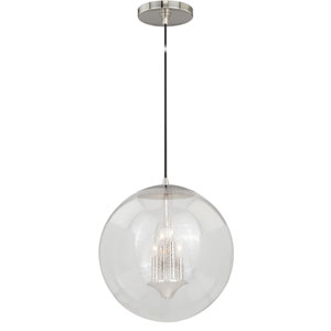 630 Series Polished Nickel 16-Inch Pendant with Clear Seeded Glass
