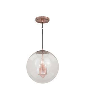 630 Series Copper 16-Inch Pendant with Clear Seeded Glass