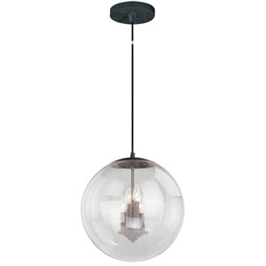 630 Series Black Iron 16-Inch Pendant with Clear Seeded Glass