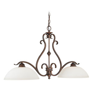 Hartford Weathered Patina Two-Light Chandelier