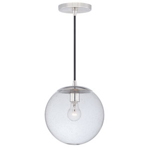 630 Series Polished Nickel One-Light Mini Pendant with Clear Seeded Glass