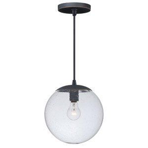 630 Series Black Iron One-Light Mini Pendant with Clear Seeded Glass