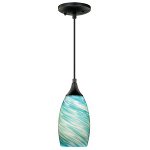 Milano Oil Rubbed Bronze One-Light Mini Pendant With Cleste Wave Glass