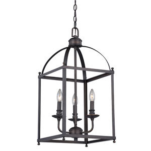 Juliet Architectural Bronze Three-Light Pendant