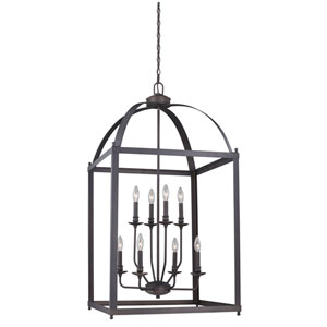 Juliet Architectural Bronze Eight-Light Pendant