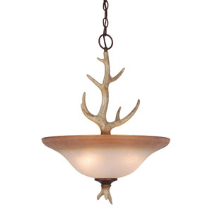 Lodge Noachian Stone Four-Light 18-Inch Pendant w/French Scavo Glass