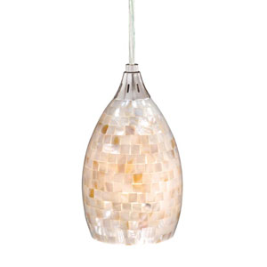 Milano Satin Nickel Mini Pendant w/Mosaic Shell Glass