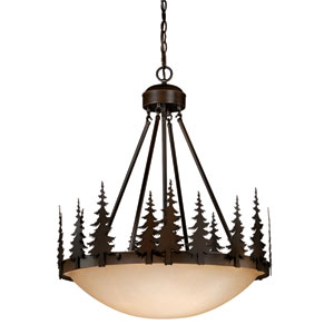 Yosemite Burnished Bronze Four-Light 24-Inch Pendant