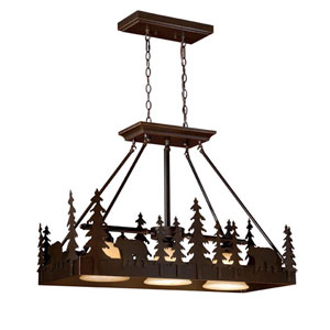 Bozeman Burnished Bronze Three-Light 36-Inch Kitchen Island Pendant