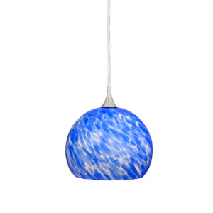 Milano Satin Nickel 5-3/4-Inch Mini Pendant w/Azzurra Glass