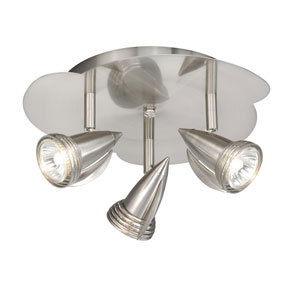 Satin Nickel Three-Light Line Voltage Ceiling Light