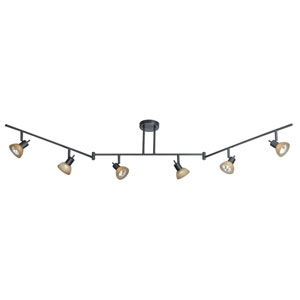 Dark Bronze Six-Light Swing Track Bar
