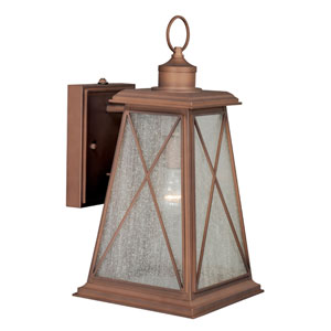 Mackinac Antique Red Copper 9-Inch Wide One-Light Outdoor Wall Sconce with Seeded Glass