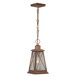 Mackinac Antique Red Copper One-Light Outdoor Hanging Mini Pendant with Seeded Glass