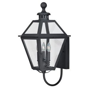Nottingham Textured Black 12-Inch Outdoor Wall Light