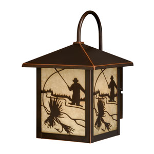 Mayfly Burnished Bronze 8-Inch One-Light Outdoor Armed Wall Sconce