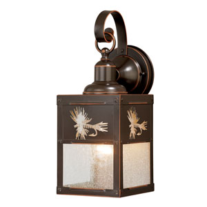Mayfly Burnished Bronze 5-Inch One-Light Outdoor Wall Sconce