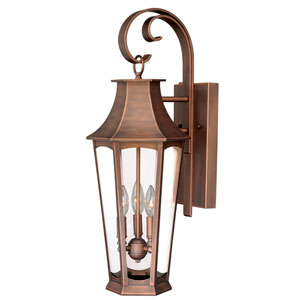 Preston Brushed Copper Three-Light Outdoor Wall Sconce