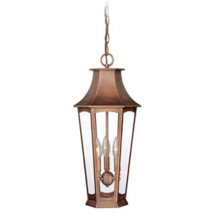 Preston Brushed Copper Three-Light Outdoor Pendant