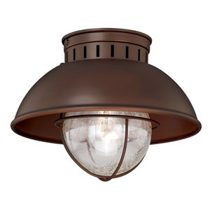 Harwich Burnished Bronze One-Light Outdoor Semi Flush Mount
