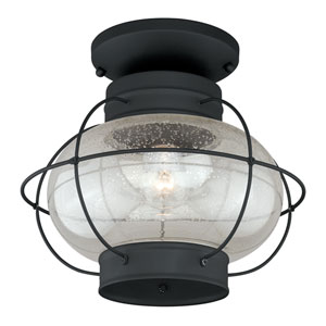 Chatham Textured Black One-Light Outdoor Semi Flush Mount