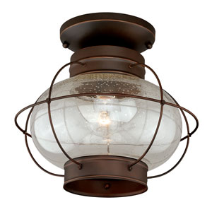 Chatham Burnished Bronze One-Light Outdoor Semi Flush Mount