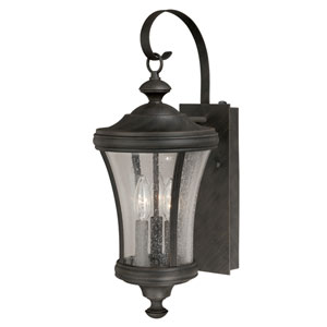 Hanover Brushed Iron 9-Inch Three-Light Outdoor Wall Sconce