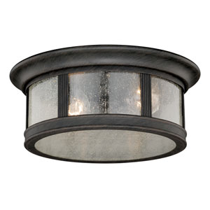 Hanover Brushed Iron Two-Light Outdoor Flush Mount