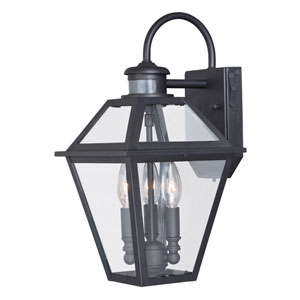 Nottingham Textured Black Three-Light Outdoor Motion Sensor Wall Sconce