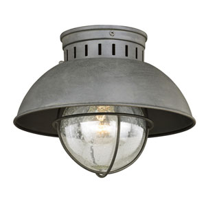 Harwich Textured Gray One-Light Outdoor Flush Mount