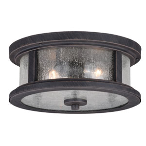 Cumberland Rust Iron 13-Inch Two-Light Outdoor Flush Mount