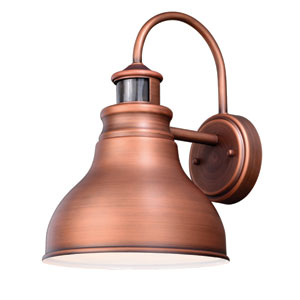 Delano Dualux Brushed Copper 9-Inch One-Light Outdoor Brass Wall Light