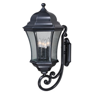 Aberdeen Shiny Black 13-Inch Four-Light Outdoor Wall Light