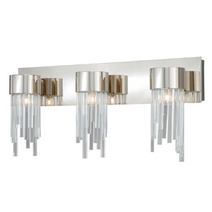 Ice Three-Light Polished Nickel Wall Vanity Light