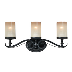 Elba New Bronze Three-Light Wall Sconce with Champagne Glass